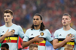LILLE, FRANCE - Friday, July 1, 2016: Belgium's Thomas Meunier, Jason Denayer and Toby Alderweireld ahead of the UEFA Euro 2016 Championship Quarter-Final match against Wales at the Stade Pierre Mauroy. (Pic by Paul Greenwood/Propaganda)