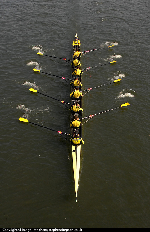 More than 400 crews from around the globe take to the waters of the River Thames in London UK to compete in the historic Head of the River boating event. The event was started in 1926 by Cambridge and Tideway Oarsman, Steve Fairbairn. Each boat is manned by eight men who row over the 4,25 mile course from Mortlake to Putney.