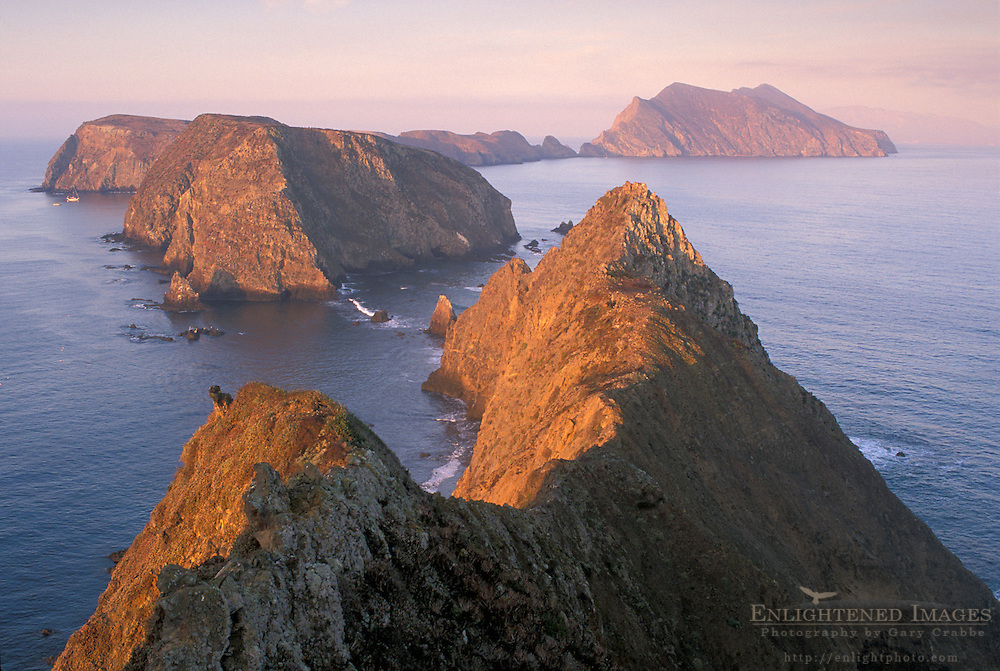 Morning light on coastal cliffs over Pacific Ocean from Inspiration Point, East Anacapa Island, Channel Islands National Park, California