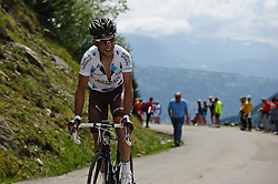 An AG2R rider on the top of the Col de la Joux Plane during stage 6 of the Criterium du Dauphine. Photo by Simon Parker/SPactionimages