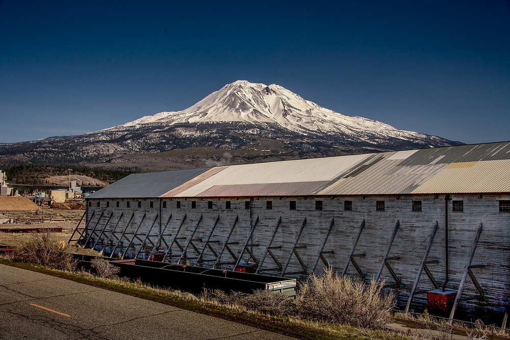 mount shasta, aika, from Weed with industrial plant and log deck