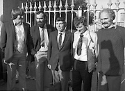 Release of Fishermen from Mountjoy.1982.22.10.1982.10.22.1982.22nd October 1982.As a result of E.U Fisheries policy, in regard to a total ban on herring fishing in the Irish Sea,blockades of eastern fishing ports were started. Several fishermen were imprisioned as a result..(L-R) Tony Faherty,Kilronan, Nicholas McMahon,Cahirciveen, Joe Maddoch,Chairman,IFO,Kilmore Quay, Joe O'Shea,Cahirciveen and Peter Mullen,Kilronan, on their release from prison...pictures  of ireland.picture of (L-R) Tony Faherty,Kilronan, Nicholas McMahon,Cahirciveen, Joe Maddoch,Chairman,IFO,Kilmore Quay, Joe O'Shea,Cahirciveen and Peter Mullen,Kilronan, on their release from prison.Photos of Ireland.Photo of (L-R) Tony Faherty,Kilronan, Nicholas McMahon,Cahirciveen, Joe Maddoch,Chairman,IFO,Kilmore Quay, Joe O'Shea,Cahirciveen and Peter Mullen,Kilronan, on their release from prison.old pictures.old photos  of ireland.old photos.old photographs  of ireland.old photographs. images of Ireland.images.historic images  of ireland.historic images.Black and White images of Ireland