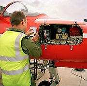 Engineering ground staff of the Red Arrows, Britain's RAF aerobatic team, during turnarounds of training flights.