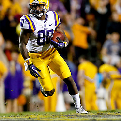 Sep 21, 2013; Baton Rouge, LA, USA; LSU Tigers wide receiver Jarvis Landry (80) against the Auburn Tigers during the second half of a game at Tiger Stadium. LSU defeated Auburn 35-21. Mandatory Credit: Derick E. Hingle-USA TODAY Sports