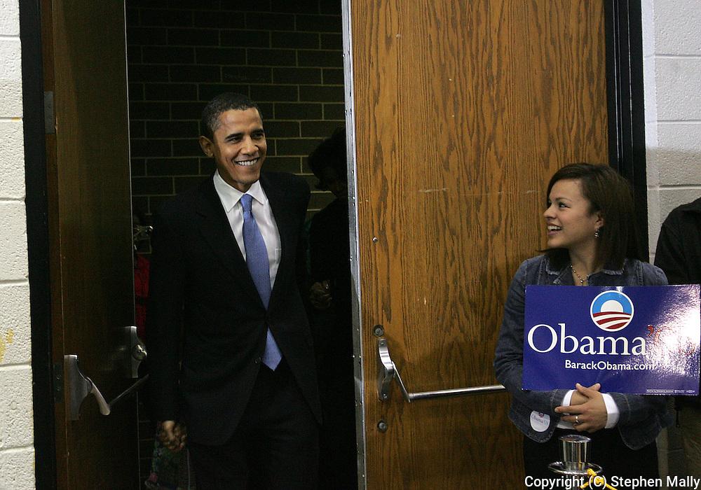 10 February 2007: Democratic presidential hopeful Senator Barack Obama (D-IL) arrives to speak at a town hall meeting at Kennedy High School in Cedar Rapids, Iowa on February 10, 2007.