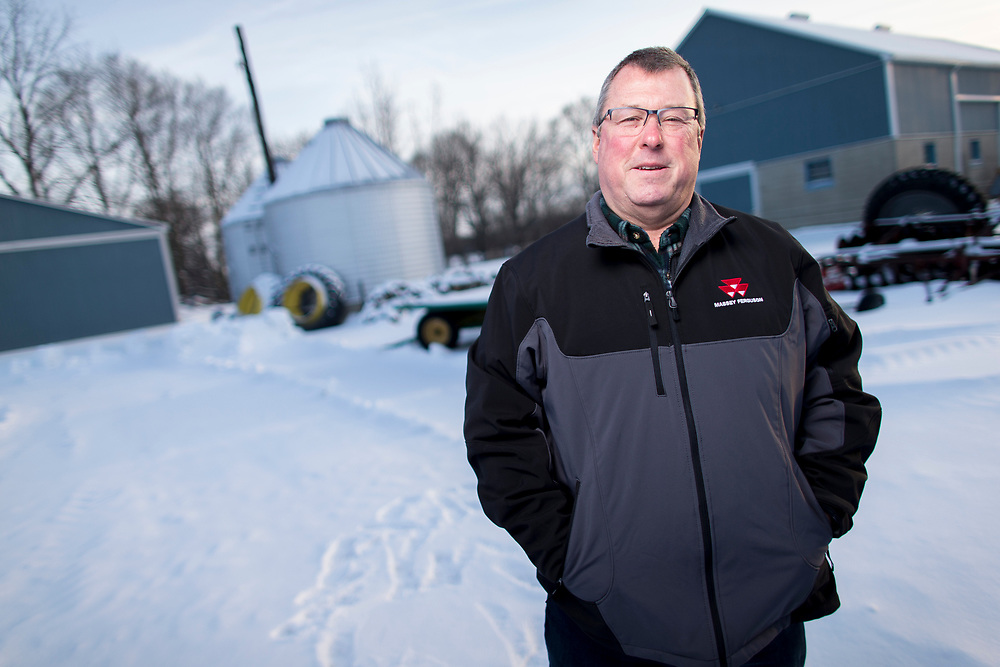 Jay Cunningham stands in the driveway of his farm near Chatham, Ontario, Tuesday, February 6, 2018. <br /> Farmers Forum/ Geoff Robins