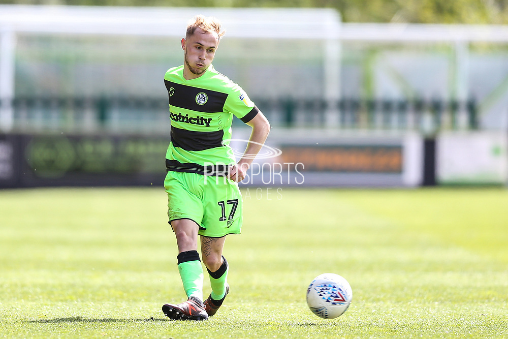 Forest Green Rovers Isaac Pearce(17) passes the ball forward during the EFL Sky Bet League 2 match between Forest Green Rovers and Exeter City at the New Lawn, Forest Green, United Kingdom on 4 May 2019.
