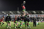 Saints warm up before the Aviva Premiership match between Sale Sharks and Northampton Saints at the AJ Bell Stadium, Eccles, United Kingdom on 25 November 2017. Photo by George Franks.