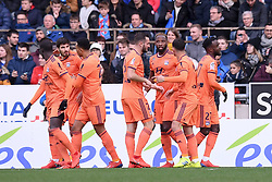 March 9, 2019 - Strasbourg, France - JOIE - 27 MAXWEL CORNET (OL) - 29 LUCAS TOUSART (OL) - 09 MOUSSA DEMBELE (OL) - 07 MARTIN TERRIER  (Credit Image: © Panoramic via ZUMA Press)