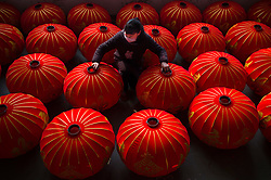 Jan. 11, 2017 - Hefei, China -  A worker from Kaiming Lantern Factory organizes semi-finished lanterns at Luyang Industrial Park in Hefei, capital of east China's Anhui Province. Taking orders from home and abroad, Kaiming produces more than 3,000 lanterns per day and becomes one of the world's major lantern manufacturers. Producing processes of traditional Chinese lanterns cannot be fully mechanized and require manual work.   (Credit Image: © Xinhua via ZUMA Wire)