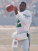 Philadelphia Eagles quarterback  Randall Cunningham (12) warms up before the NFC Divisional Playoff NFL football game against the Chicago Bears on December 31, 1988 in Chicago, Illinois. Bears won the game 20-12  ©Paul Anthony Spinelli
