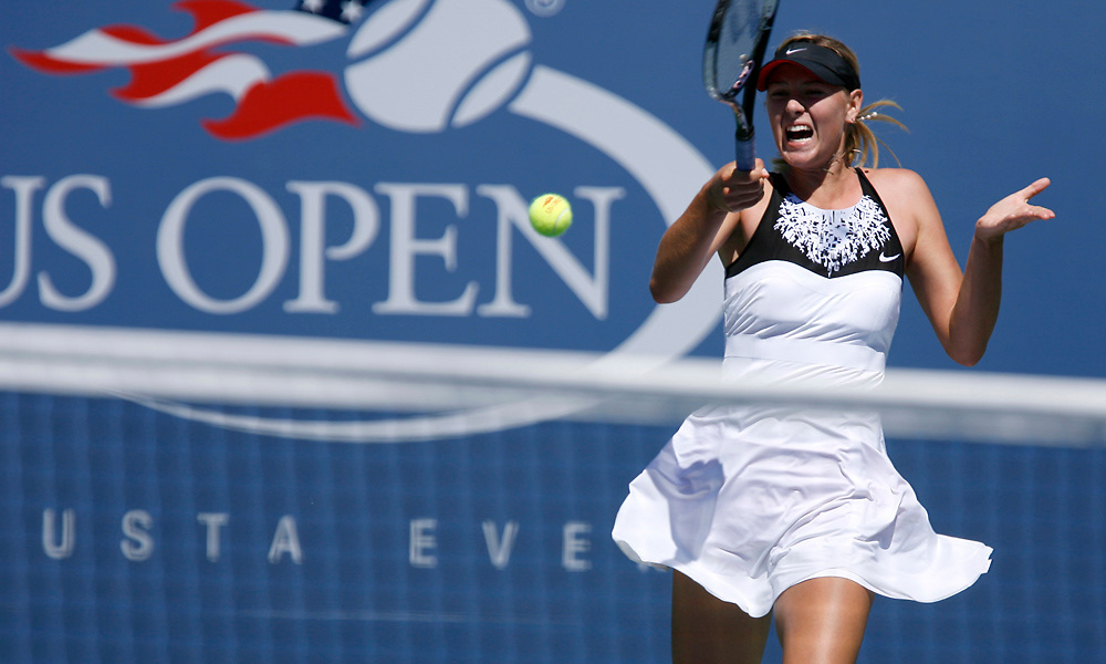 Maria Sharapova of Russia playing against Agnieszka Radwanska of Poland during day six of the 2007 U.S. Open at the Billie Jean King National Tennis Center on September 1, 2007 in the Flushing neighborhood of the Queens borough of New York City
