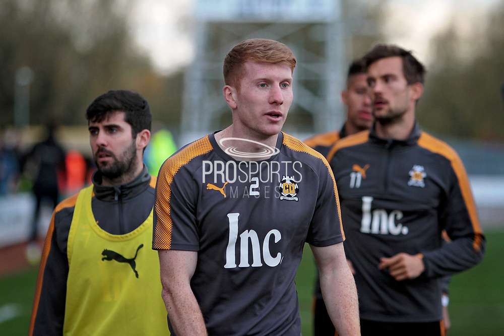Cambridge Utd's defender Brad Halliday (2) warming up before the EFL Sky Bet League 2 match between Cambridge United and Accrington Stanley at the Cambs Glass Stadium, Cambridge, England on 11 November 2017. Photo by Nigel Cole.