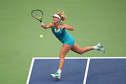 September 5, 2017 - New York City, New York, United States - CoCo Vandeweghe of the United States return the ball against Karolina Pliskova of Czech Republic (not seen) during Women's Singles Quarter Finals tennis match within the 2017 US Open Tennis Championships at Arthur Ashe Stadium in New York, United States on September 6, 2017. (Credit Image: © Foto Olimpik/NurPhoto via ZUMA Press)