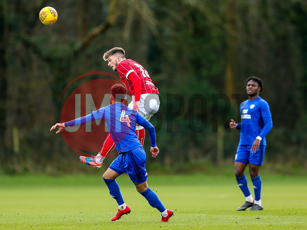 Cameron Allen of Bristol City U23 is challenged by Danny Rowe of Cardiff City U23 - Rogan/JMP - 19/02/2018 - Failand Training Ground - Bristol, England - Bristol City U23 v Cardiff City U23.