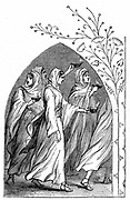 The Wise Virgins going to meet the bridegroom, their lamps shining brightly. 'Bible' Matthew 25. Wood engraving of 1883
