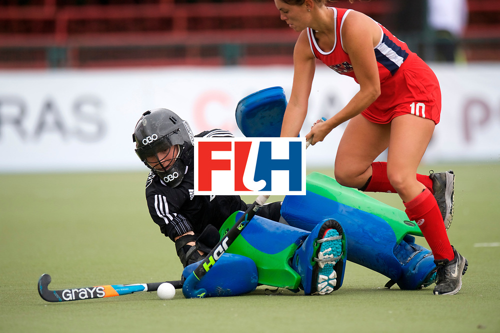 SANTIAGO - 2016 8th Women's Hockey Junior World Cup.<br /> 39 ENG v USA (7 / 8 Place)<br /> foto: Miriam Pritchard (Gk)  and Gabrielle Major <br /> FFU PRESS AGENCY COPYRIGHT FRANK UIJLENBROEK