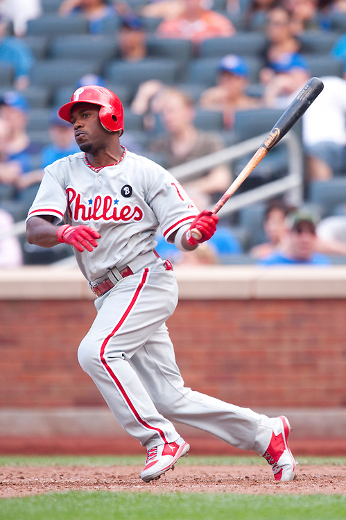 NEW YORK - JULY 16: Jimmy Rollins #11 of the Philadelphia Phillies bats during the game against the New York Mets at Citi Field on July 16, 2011 in the Queens borough of Manhattan. (Photo by Rob Tringali) *** Local Caption *** Jimmy Rollins