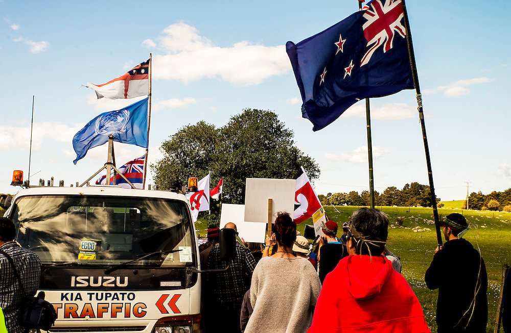 """Anti gold mining protesters at Puhipuhi, Northland, New Zealand, break past security onto a farm where an Australian company has been drilling. Sunday September 11, 2016. Credit:SNPA / Malcolm Pullman. """"NO ARCHIVING"""""""