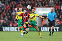 Football - 2019 / 2020 Premier League - AFC Bournemouth vs. Norwich City<br /> <br /> Bournemouth's Lewis Cook and Moritz Leitner of Norwich City compete for the ball during the Premier League match at the Vitality Stadium (Dean Court) Bournemouth  <br /> <br /> COLORSPORT/SHAUN BOGGUST