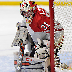 WHITBY, - Dec 14, 2015 -  Game #4 - Russia vs. Canada East at the 2015 World Junior A Challenge at the Iroquois Park Recreation Complex, ON. Nicholas Latinovich #31 of Team Canada East follows the play during the first period.<br /> (Photo: Shawn Muir / OJHL Images)