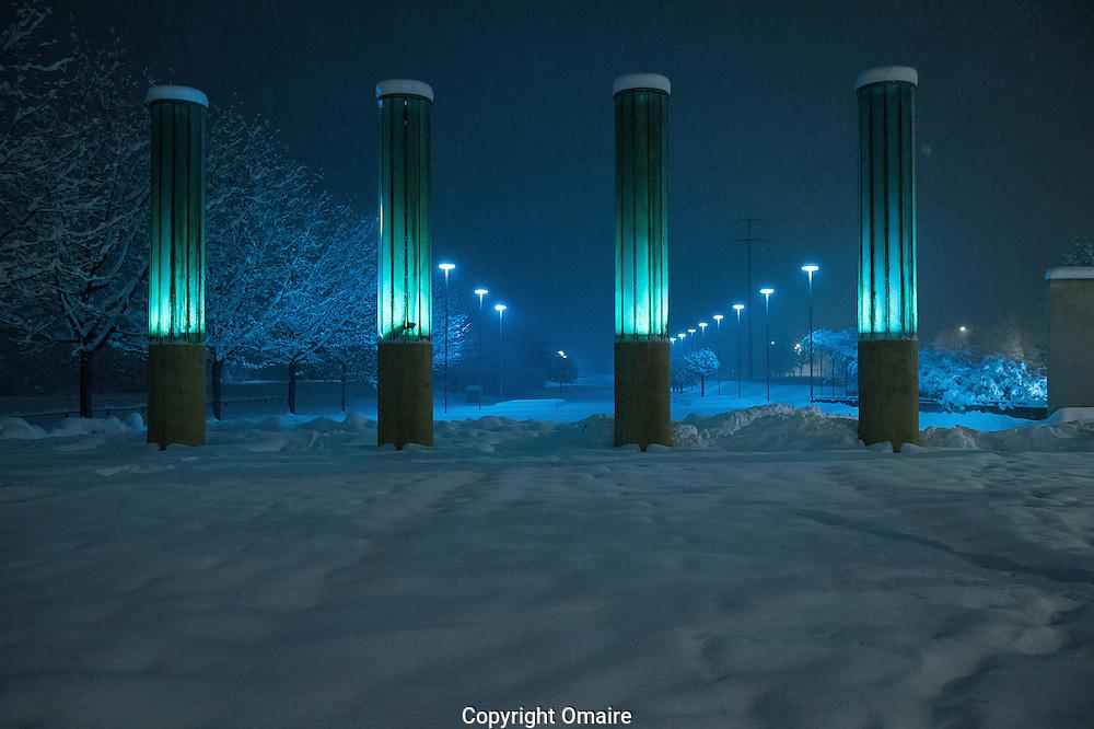 SION VALAIS NEIGE..Une graviere et zone industrielle sous la neige dans la zone industrielle de Sion la nuit du 8 decembre 2012.(PHOTO-GENIC.CH/ OLIVIER MAIRE)