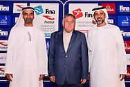 (From L to R)<br /> Ahmed Al Falasi, President UAE Swimming Federation <br /> Cornel Marculescu FINA<br /> Gala Dinner<br /> FINA/HOSA 10 Km Marathon Swimming World Cup  2016<br /> Khalideya Palace<br /> Day1  26 Feb.2016<br /> Photo G.Scala/Insidefoto/Deepbluemedia