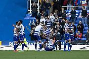 Reading players celebrate winning 1-0, goalscorer Matt Miazga (5) of Reading during the EFL Sky Bet Championship match between Reading and Preston North End at the Madejski Stadium, Reading, England on 19 October 2019.