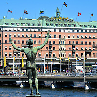 Sun Singer Statue at Str&ouml;mparterren Park in Stockholm, Sweden<br />