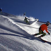 Melissa Perrine, Australia (left) with guide Andrew Bor in action during the Women Giant Slalom Visually Impaired competition at Coronet Peak, during the Winter Games. Queenstown, New Zealand, 23rd August 2011. Photo Tim Clayton.