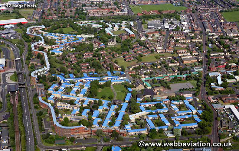 aerial photograph  Byker Wall   Newcastle upon Tyne England UK