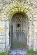 Doorway at Iona Abbey on Isle of Iona in the Inner Hebrides and Western Isles, West Coast of Scotland