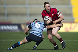 September 30, 2017 - Limerick, Ireland - Rory Scannell of Munster tackled by Tomos Williams of Cardiff during the Guinness PRO14 Conference A Round 5 match between Munster Rugby and Cardiff Blues at Thomond Park in Limerick, Ireland on September 30, 2017  (Credit Image: © Andrew Surma/NurPhoto via ZUMA Press)