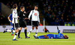 Demarai Gray of Leicester City lies on the floor injured - Mandatory by-line: Robbie Stephenson/JMP - 08/02/2017 - FOOTBALL - King Power Stadium - Leicester, England - Leicester City v Derby County - Emirates FA Cup fourth round replay