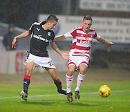 Hamilton&rsquo;s Louis Longridge and Dundee&rsquo;s Cammy Kerr - Dundee v Hamilton Academical in the Ladbrokes Scottish Premiership at Dens Park<br /> <br />  - &copy; David Young - www.davidyoungphoto.co.uk - email: davidyoungphoto@gmail.com