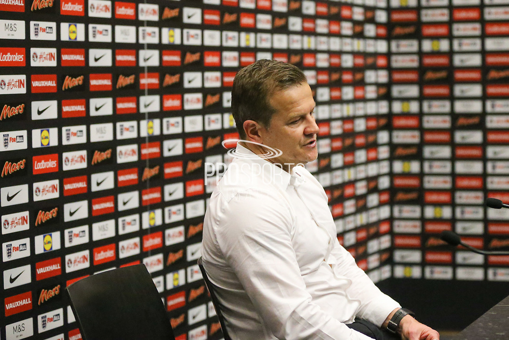 Forest Green Rovers manager, Mark Cooper in the press conferance during the Vanarama National League Play Off Final match between Tranmere Rovers and Forest Green Rovers at Wembley Stadium, London, England on 14 May 2017. Photo by Shane Healey.