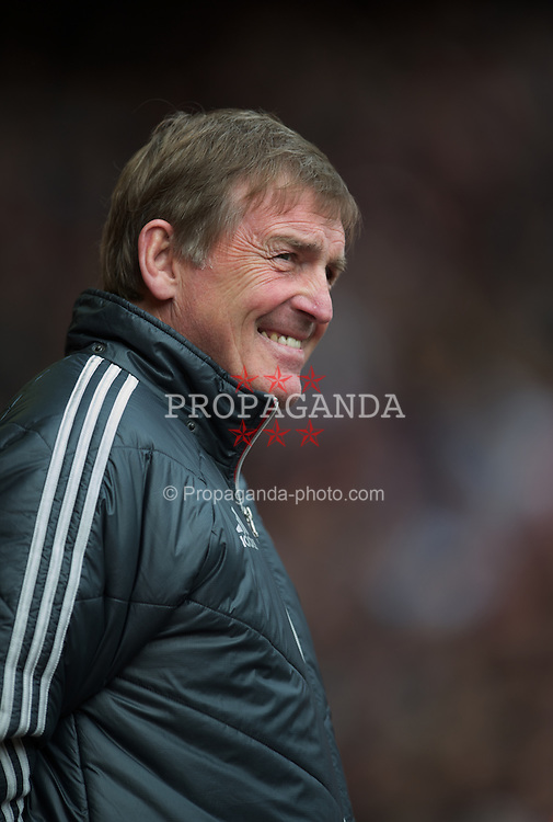 LIVERPOOL, ENGLAND - Saturday, April 7, 2012: Liverpool's manager Kenny Dalglish before the Premiership match against Aston Villa at Anfield. (Pic by David Rawcliffe/Propaganda)