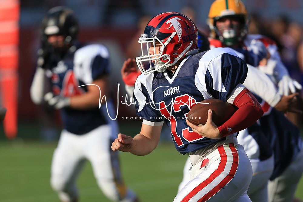 (Photograph by Bill Gerth/ for SVCN/6/24/17) Saratoga #13 William Liddle scores in the Charie Wedemeyer All Star Game at Levi Stadium, San Jose CA on 6/24/17. (North 13 South 13)