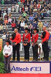 Belgian first team medal ever in reining won by Jan Boogaerts, Cira Baeck, Ann Poels, Bernard Fonck and chef d'equipe Suzy Baeck<br /> Alltech FEI World Equestrian Games <br /> Lexington - Kentucky 2010<br /> © Dirk Caremans