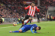 Leicester City's defender Christian Fuchs (28) and Jason Denayer (4) Sunderland AFC defender during the Premier League match between Sunderland and Leicester City at the Stadium Of Light, Sunderland, England on 3 December 2016. Photo by Ian Lyall.