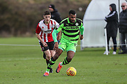 Forest Green Rovers Dan Wishart(17) on the ball during the The Central League match between Cheltenham Town Reserves and Forest Green Rovers Reserves at The Energy Check Training Ground, Cheltenham, United Kingdom on 28 November 2017. Photo by Shane Healey.