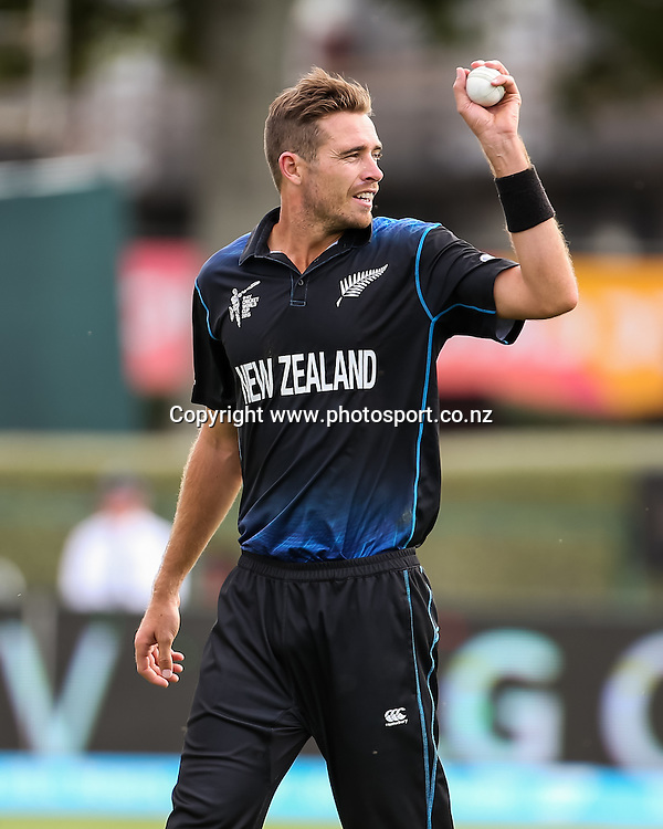 Black Cap's Tim Southee during the ICC Cricket World Cup match - New Zealand v Bangladesh played at Seddon Park, Hamilton, New Zealand on Friday 13 March 2015.  Photo:  Bruce Lim / www.photosport.co.nz