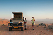 Africa, Namibia, Kuene, Kuene river, Wilderness Safari guest and guide at Serra Cafema Camp