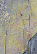 "Peter Croft climbing ""Airy Interlude"" (10b) on ""The Witch"" in the Needles of California"