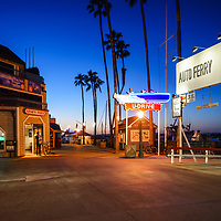 Newport Beach Balboa Auto Ferry at sunset photo. The Balboa Auto Ferry transports passengers across Newport Harbor between Balboa Peninsula and Balboa Island in Orange County Southern California. Photo is high resolution. Copyright ⓒ 2017 Paul Velgos with All Rights Reserved.