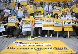 Sufferers and their families, led by the Cystic Fibrosis Trust, demonstrated at the Scottish Parliament in Edinburgh to lobby the Scottish Government to allow hundreds of sufferers to receive the life-saving drug Orkambi.<br /> <br /> © Dave Johnston/ EEm