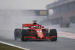 March 1, 2018 - Barcelona, Spain - VETTEL Sebastian (ger), Scuderia Ferrari SF71H, action rain during Formula 1 winter tests 2018 at Barcelona, Spain from February 26 to March 01 - Photo Florent Gooden / DPPI  (Credit Image: © Hoch Zwei via ZUMA Wire)