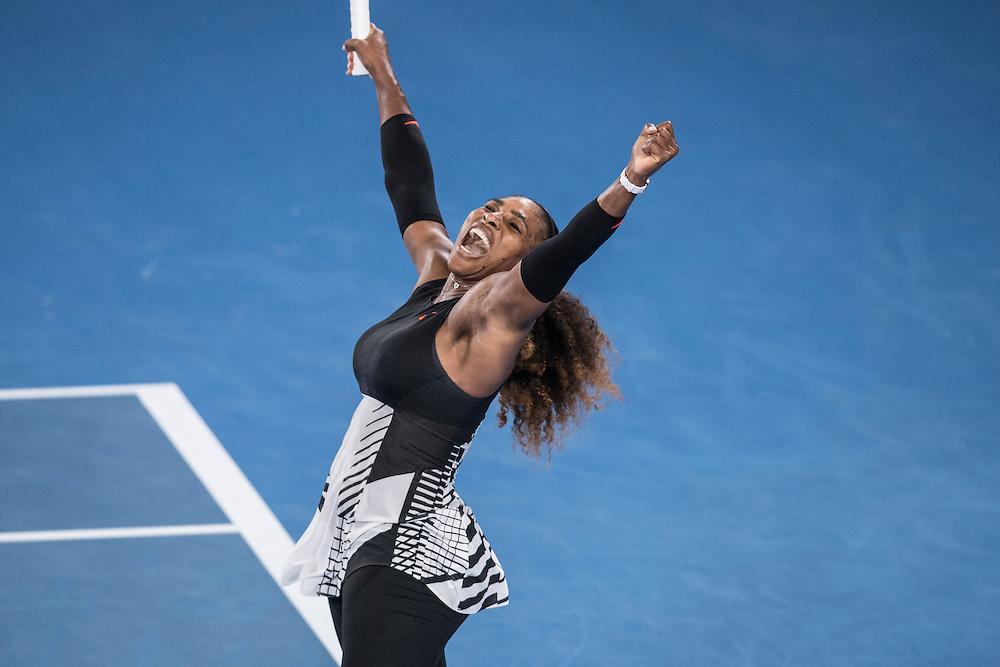 Serena Williams of the United States on day four of the 2017 Australian Open at Melbourne Park on January 19, 2017 in Melbourne, Australia.<br /> (Ben Solomon/Tennis Australia)