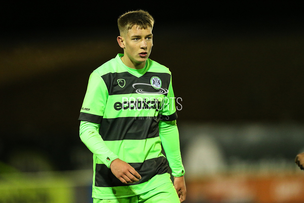 Forest Green Rovers Jay Malshanskij(12) during the FA Youth Cup match between U18 Forest Green Rovers and U18 Cheltenham Town at the New Lawn, Forest Green, United Kingdom on 29 October 2018.