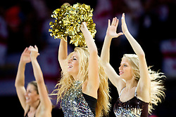 Cheerleaders Klaipeda University Dance Team (Zalgdance)  during basketball match between National teams of Georgia and Russia in Group D of Preliminary Round of Eurobasket Lithuania 2011, on September 1, 2011, in Arena Svyturio, Klaipeda, Lithuania. (Photo by Vid Ponikvar / Sportida)